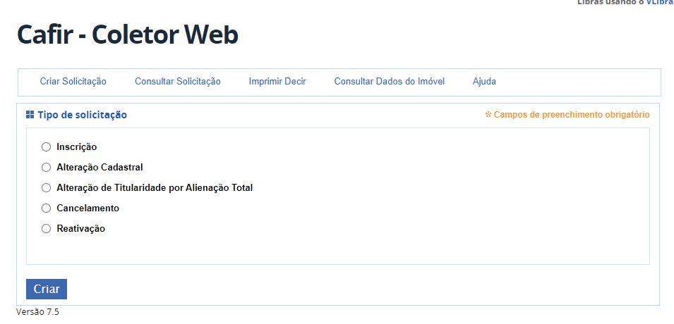 Inscrição de Imóvel pelo Coletor WEB/CAFIR